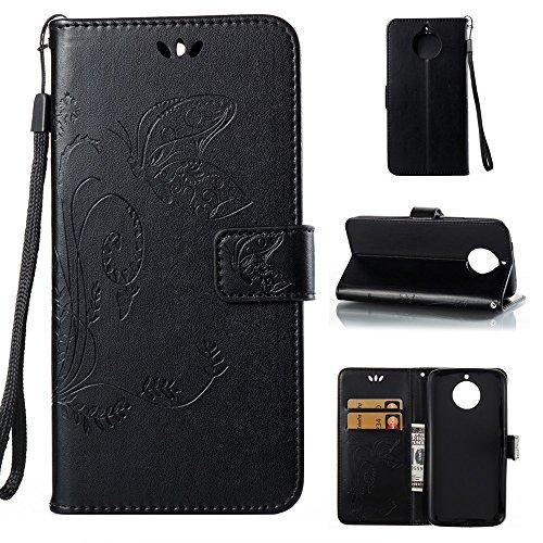 EKINHUI Case Cover Horizontale Folio Flip Stand Muster PU Leder Geldbörse Tasche Tasche mit geprägten Blumen & Lanyard & Card Slots für Motorola MOTO G6 Plus ( Color : Brown ) Black