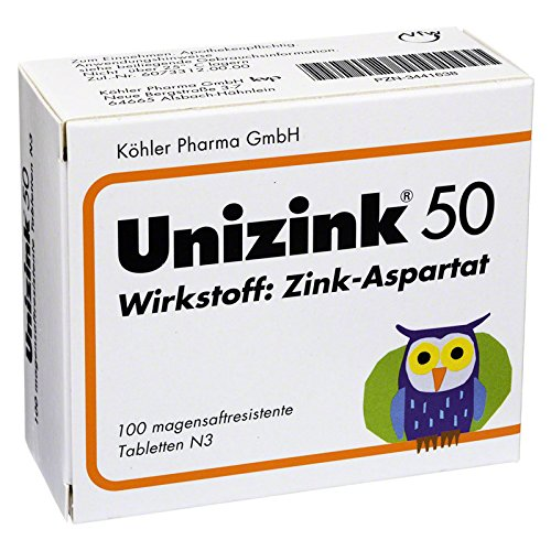 Unizink 50, 100 St. magensaftresistente Tabletten