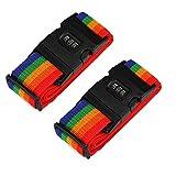 Set di 2 Cinghia per valigia Cinghie da Bagagli con Serratura a Combinazione Cintura di Sicurezza di Colore per Viaggio