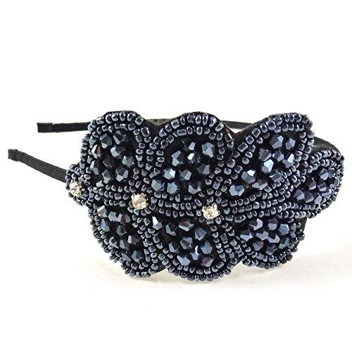 rougecaramel - Accessoires cheveux - Serre tête/headband perlé motif feuille - bleu nuit