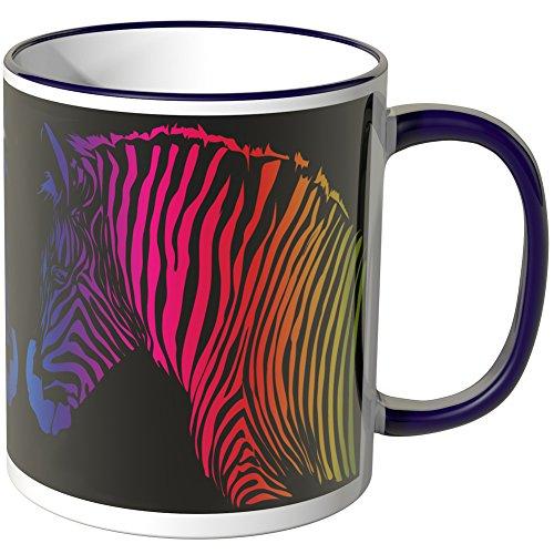 Wandkings® Tasse, Motiv: Buntes Zebra auf schwarzem Grund - LILA Lila Zebra