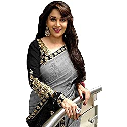 Women's Clothing Beautiful Madhuri Bollywood Party Wear Offer Designer Grey Bhagalpuri Silk Sarees with Blouse Piece Buy Online Today Special Sale Offers