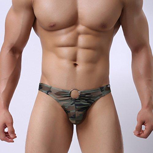 (LnLyin Camouflage Thong Druck Camouflage Low Waist Männer Thongs Höschen Mode Metall Dekorative Höschen Camo XL)