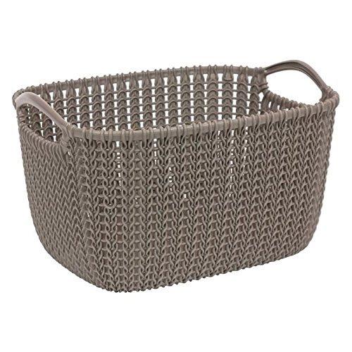 CURVER Rechteckiger Korb Knit L, Plastik, Braun, 40 x 30 x 23 cm