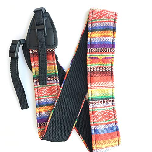 Baumwolle Gestickte Tasche (HAMISS Universal-Schultergurt für Sony/Nikon, verstellbar, Baumwolle/Leder)