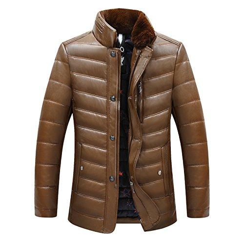GAOLIM Winter Mantel Jacke Herren Baumwolle Gefütterte Jacke Dicke Winterkleidung, L, Liling Schwarzem Kaffee