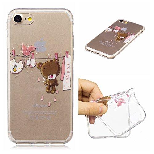 iPhone 7 Hülle, Voguecase Silikon Schutzhülle / Case / Cover / Hülle / TPU Gel Skin für Apple iPhone 7/iPhone 8 4.7(Blume Schädel 12) + Gratis Universal Eingabestift IT'S A GIRL 01