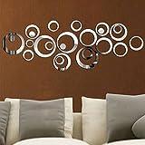 ETGtek(TM) 1set Círculos dulces 3d Espejo Estilo extraíble vinilo de la etiqueta engomada arte de la pared Decoración para el Hogar (plata)