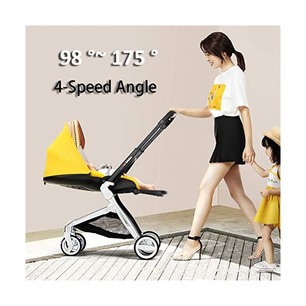 Lightweight Baby Stroller, Pivot Modular Travel System, Sleek & Versatile, Easy Infant Car Seat Transfer, Oversized Storage Basket, Travel Stroller for Infant Newborn Sit and Sleep Stroller,Yellow CCFCF ❤ [ STYLISH AND HIGH-END Baby Stroller ] : PU Leather Seat,Aluminum Alloy Frame,PU Rubber Wheel, Completely designed with Somatology Safety standard, 100% PU leather material. This perfect match feel more luxurious and fashionable and easy to clean. ❤ [ AVIATION-GRADE STABLE FRAME ] : The stroller frame is made of aviation-grade aluminum alloy. This stroller equipped with shock absorbers and offers high solidity and stability. First-class Lycra comfort fabric, A good city select foldable stroller. ❤ [ HIGHLY MANEUVERABLE CONVENIENT ] :Compact and lightweight foldable stroller system Bring friendly travel. Reversible Stroller can rear facing and front facing. Flexible front wheels with 360 degree rotation make it easy for you to control the whole stroller. 5