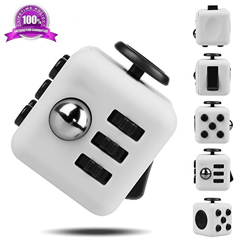 EpochAir Fidget Cube Relieves Stress And Anxiety for Children and Adults Anxiety Attention Toy (White)