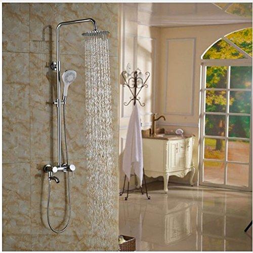 Gowe Badezimmer 20,3cm Rund Dusche Wasserhahn mit Handbrause Chrom Poliert Badewanne Dusche Einheiten Wand montiert -