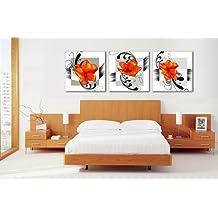 Diseño de limonero Art-grandes naranja de flores de fotos de madera de pintura sobre bastidor Impresión de lienzo y con marco, diseño con texto en Home juego de 3 adornos cuadro decorativo de 50 * 50 cm cada una #CY-297