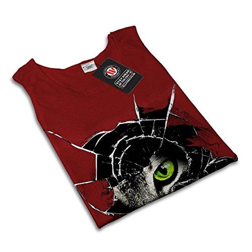 Glas Tier Wütend Katze Tier Schau Damen S-2XL Muskelshirt | Wellcoda Rot