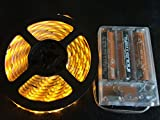 HLS 120LED AMBER Waterproof 3AA Battery Powered 2m long LED Light Strip with Adhesive Backing.