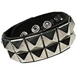 Search : Pyramid Metal Studded 100% Real Leather Gothic Punk Wristband Fashion Adult Accessory WB279