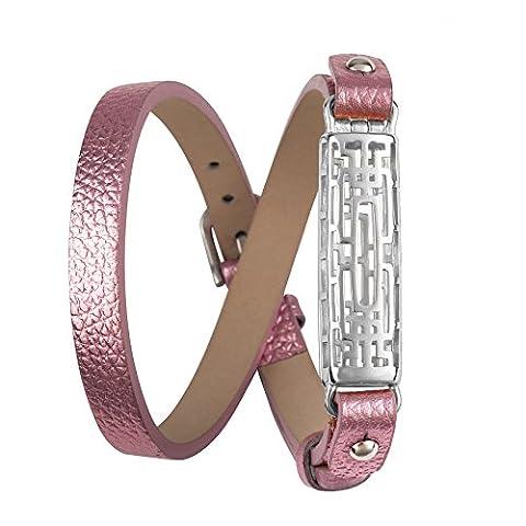 Wearlizer Bracelet de rechange en cuir pour Fitbit Flex 2,avec boîtier en métal, style classique, réglable, Pink, Silver Case