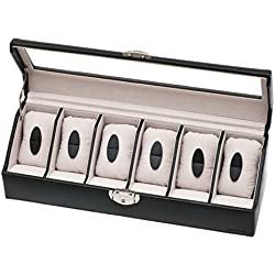 Davidt's Euclide Unisex Synthetic Watch Box in Black with Glass Lid for 6 Watches 367533.01