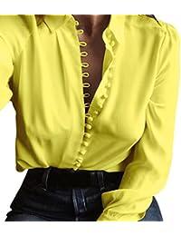 Camisa Larga del BotóN De Las Mujeres Flip Collar Manga Larga Casual Top