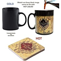 Harry Potter Marauder's Map Color Changing Magic Black Heat Sensitive Coffee Mug with Free Coaster- Perfect Valentines/Easter/Summer/Christmas/Birthday/Anniversary Gift