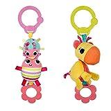Heldere starts, speelgoed voor de kinderwagen. kever of giraf multicolor