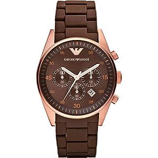 Emporio Armani AR5890 – Reloj cronógrafo de cuarzo unisex con correa de caucho, color marrón