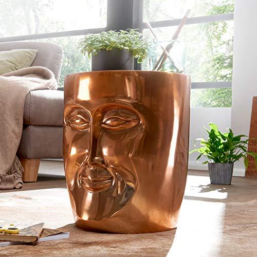 FineBuy Beistelltisch Maka 32,5x39x35 cm Aluminium Couchtisch Kupfer Orientalisch | Sofatisch mit Gesicht aus Metall | Designer Ablagetisch Modern | Kleiner Anstelltisch Schmal