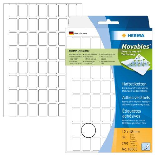 Herma 10603 Vielzwecketiketten ablösbar ohne Klebe-Rückstände (12 x 18mm, Movables, Papier matt) 1.792 Stück auf 32 Blatt, weiß, Handbeschriftung