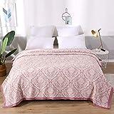 Asvert Quilt Tagesdecke 100% Baumwolle Bettüberwurf Steppdecke Patchwork Bettdecke (200 x 230 cm, Lila 3)