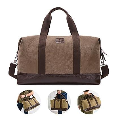 Overmont-36I-Vintage-Canvas-Unisex-Reisetasche-Gym-Tasche-Weekender-Tasche-Handgepck-Sporttasche-fr-Reise-am-Wochenend-Urlaub-KhakiSchwarzGrauBraun