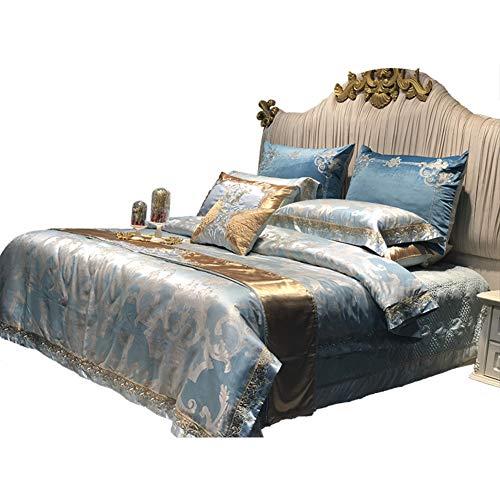 JYTT Bettwäsche-Sets tröster Luxuriös Baumwolle 10pc Brushed Allergiker Jacquard Faux Seide Schlafzimmer Baumwollsatin-A King -