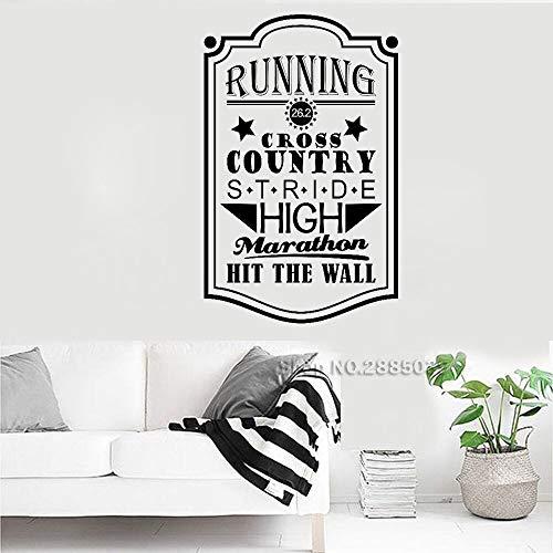 Ami0707 Wandtattoo Laufen Vinyl Wandtattoo Aufkleber Zitat 26,2 Cross Country Stride High Marathon Hit Die Wandbild Tapete Removable56cm x 88cm