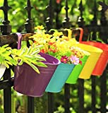 #8: Collectible India Metal Yellow Railing Planter Flower Pot Wall Fence Hanging Balcony Garden Planters - 1 Pcs Yellow