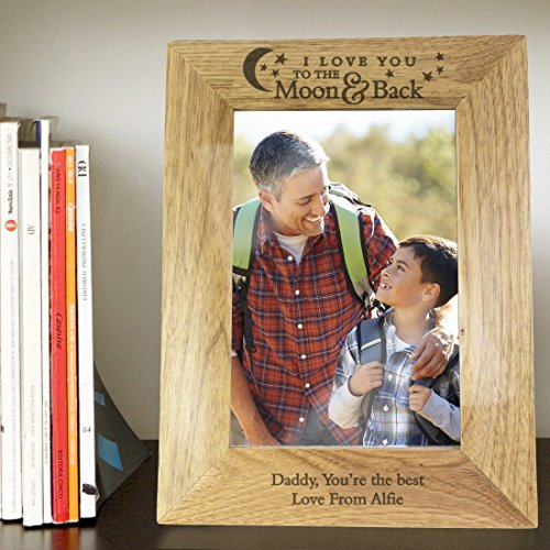 Price comparison product image Personalised To The Moon And Back 5x7 Wooden Photo Frame Personalised Personalised This 5x7 Oak