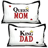 #6: Indigifts Parents Gift King Dad & Queen Mom Quote White 17x27 inches Pillow Covers Set of 2 -Parents Birthday Gifts, Parents Day Gift, Anniversary Gift for Mom Dad, Best Gift for Mummy Papa