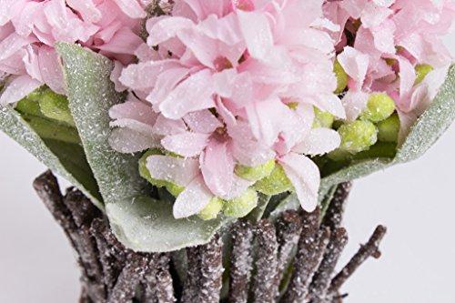 Botanic-Haus künstliches Hyazinthen-Weiden-Arrangement gefrostet Farbe: rosa