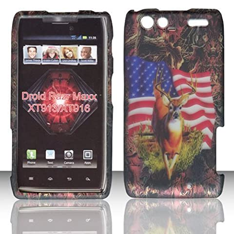 2D Camo USA Flag Motorola Droid RAZR MAXX , XT913/ XT916 Verizon Case Cover Hard Protector Phone Cover Snap on Case Rubberized Frosted Matte Surface Hard