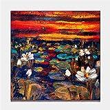 LIUXIAOYAN So Crazy Art rot Orange Wand Kunst Malerei Schöne weiße Lotus Bunte Himmel Hintergrund Golden Sunset Bilder Drucke auf Leinwand Blume Das Bild Dekor Öl Home Modern Deco