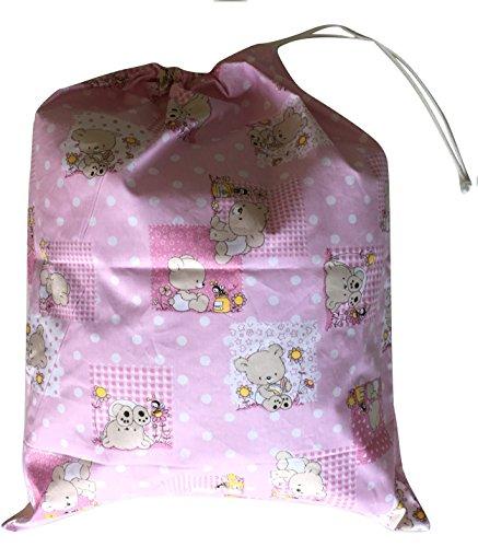 Preisvergleich Produktbild Kindergarten-Beutel, 46x 60cm, zum Aufbewahren von Kleidung Orsetti e Api Rosa