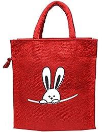 Pranjals House Trendy Reusable Printed Jute Lunch Bag