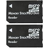 COM-FOUR® 2x Micro SDHC zu MS Pro Duo Adapter Speicherkarte microSD zu Memory Stick für Sony PSP Kamera Handy max. 16GB (2 Stück V2)