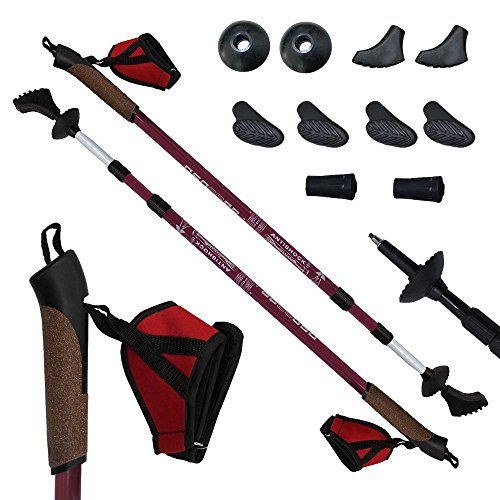 DENQBAR Nordic Walking Poles / Telescopic Trekking - Hiking sticks with anti shock (sunset red)