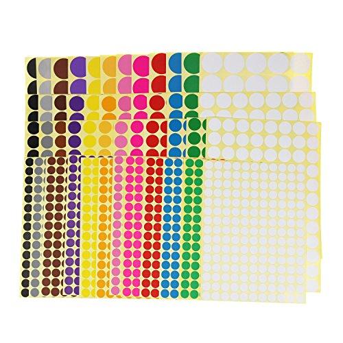 LJY etiquetas de codificación de color pequeñas etiquetas redondas circulares extraíbles del círculo Planificador del calendario Decoraciones de la organización de la sala de clase, 12 colores, tamaños mezclados, total 4452 puntos en 48 hojas