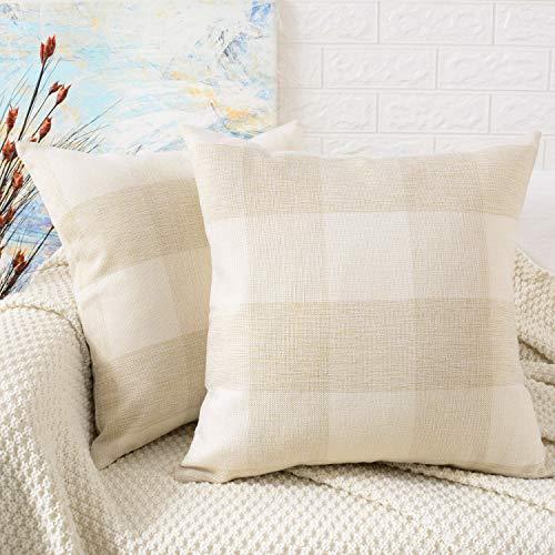 MERNETTE 2Stück, Plaid Baumwolle Leinen Quadratisch dekorativer Überwurf-Kissen Kissen Fälle Kissenbezüge für Sofa Schlafzimmer Auto Stuhl 45,7x 45,7cm 45x 45cm 18