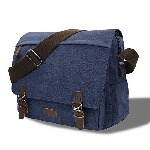 WinCret Umhängetasche Herren mit USB Ladeanschluss - Größ Schultertasche für 15.6 Zoll Laptop - Herrentasche aus Segeltuch/Laptoptasche/Kuriertasche/Messenger Bag für Schule Büro Business Reise
