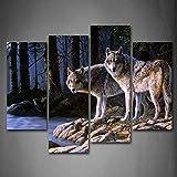 Due Lupo stare in piedi Sopra fiume Banca foresta Pittura di arte della parete La stampa su tela di canapa Animale Quadri d'illustrazione per l'ufficio domestico Decorazione moderna