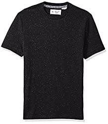 Original Penguin Mens Donegalcasual Short Sleeve Tee, True Black, Small