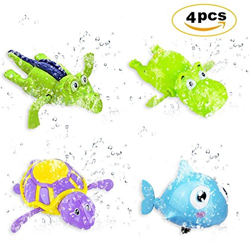 Jiada Pool Float Wind Up Bath Toys   Wind Up Swimming Bathtub Animal Toys Playset for Toddlers   Set Of 4   ABS Material