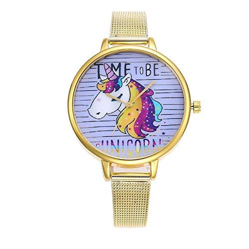 Souarts Damen Armbanduhr Einfach Mesh Metallarmband Flamingo Ananas Regenbogen Casual Analoge Quarz Uhr Silber Farbe Mädchen Uhr (Gold 5)