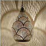 Orientalische Lampe marokkanische Pendelleuchte | Prachtvolle Deckenlampe Silber Leuchte für tolle Licht- und Schattenspiele wie aus 1001 Nacht | Hängelampe Naouma Samak D20