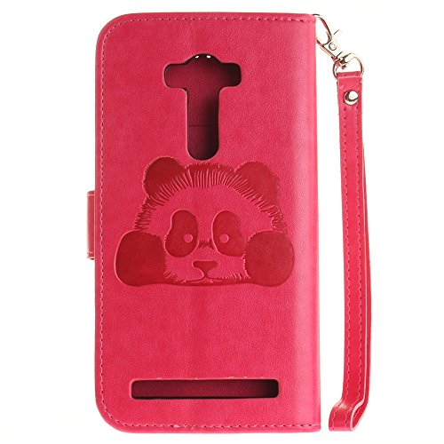 Wkae Case Cover Cute Panda gaufrage Conception Solid Color Case synthétique PU cuir Wallet Avec Slots carte et Longe Support couverture de cas pour ASUS Zenfone 2 ZE551KL Laser (5,5 pouces) ( Color :  9